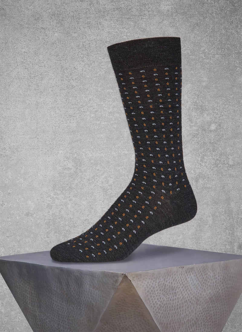 Merino Micro Paisley Sock in Charcoal