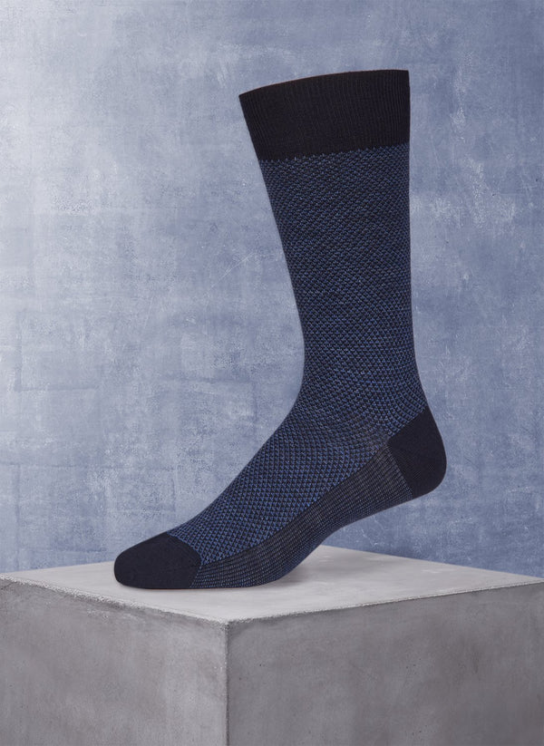 Merino Diamond Sock in Navy