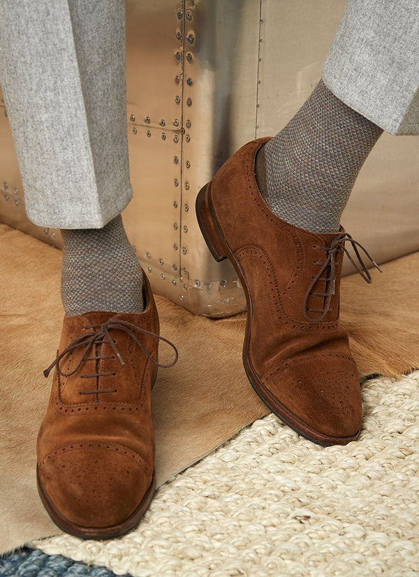 Merino Diamond Sock in Tan