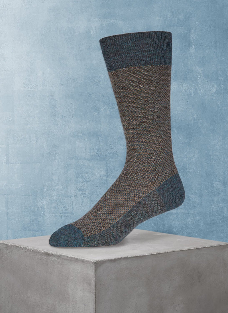 Merino Diamond Sock in Deep Teal