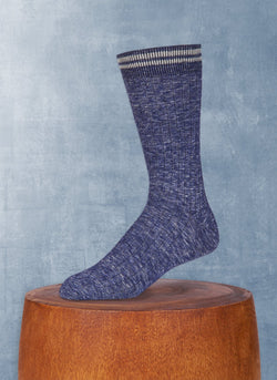 Mélange Retro Cuff Deep Denim Sock