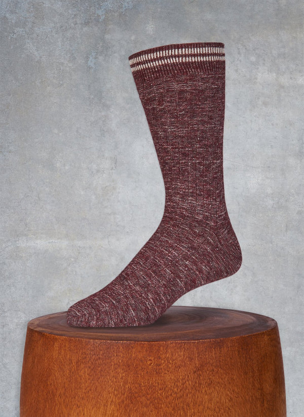 Mélange Retro Cuff in Bordeaux Sock