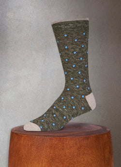 Mélange Diamonds in Olive Sock