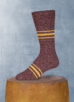 Mélange Retro Stripe in Burgundy Sock