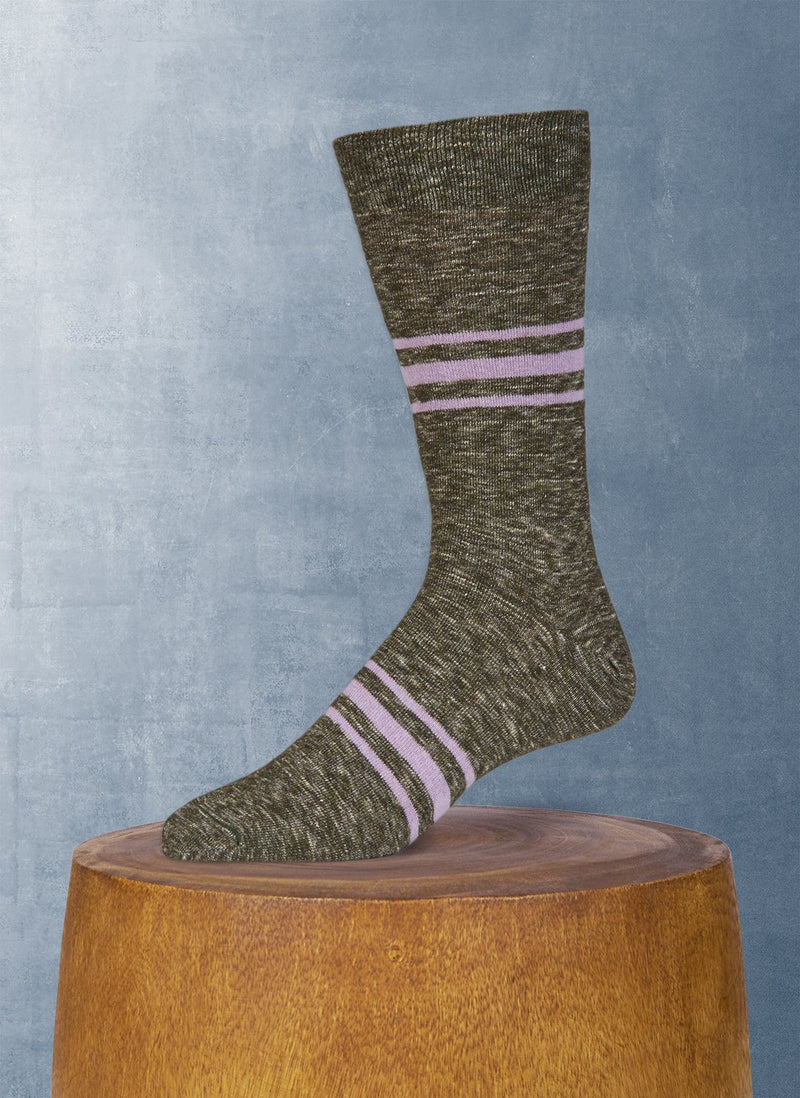 Mélange Retro Stripe in Olive Green Sock