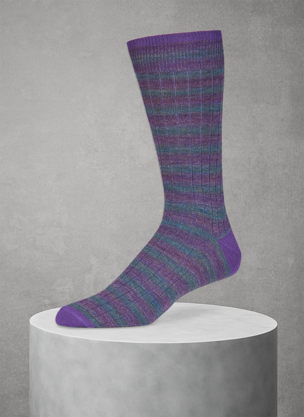 Wool Rugby Spacedye Sock in Purple