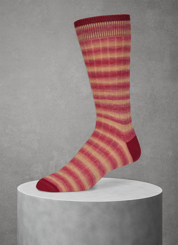 Wool Rugby Spacedye Sock in Red