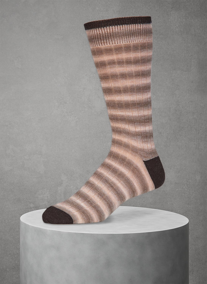 Wool Rugby Spacedye Sock in Taupe