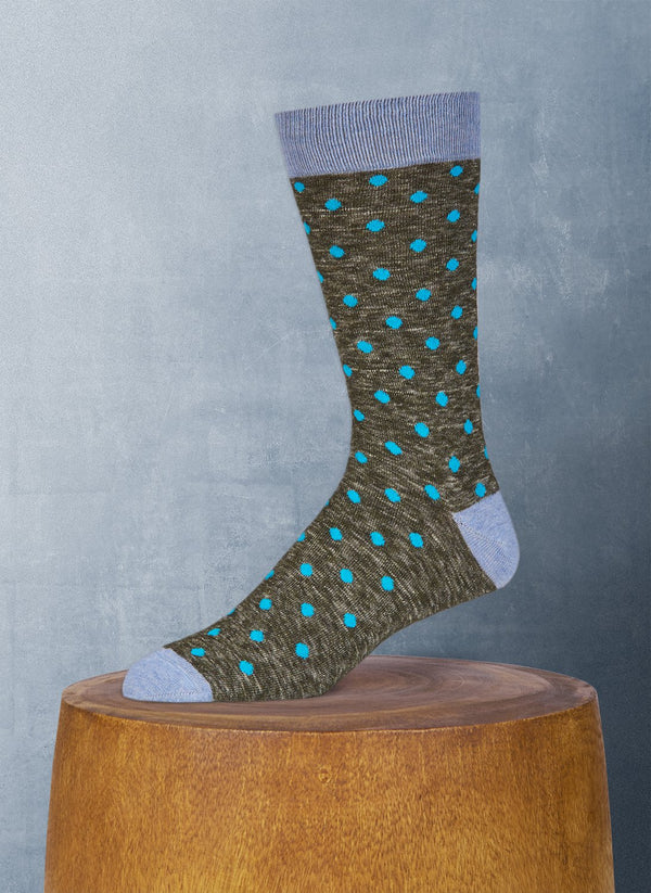 Xenon Dot Cotton Sock in Olive
