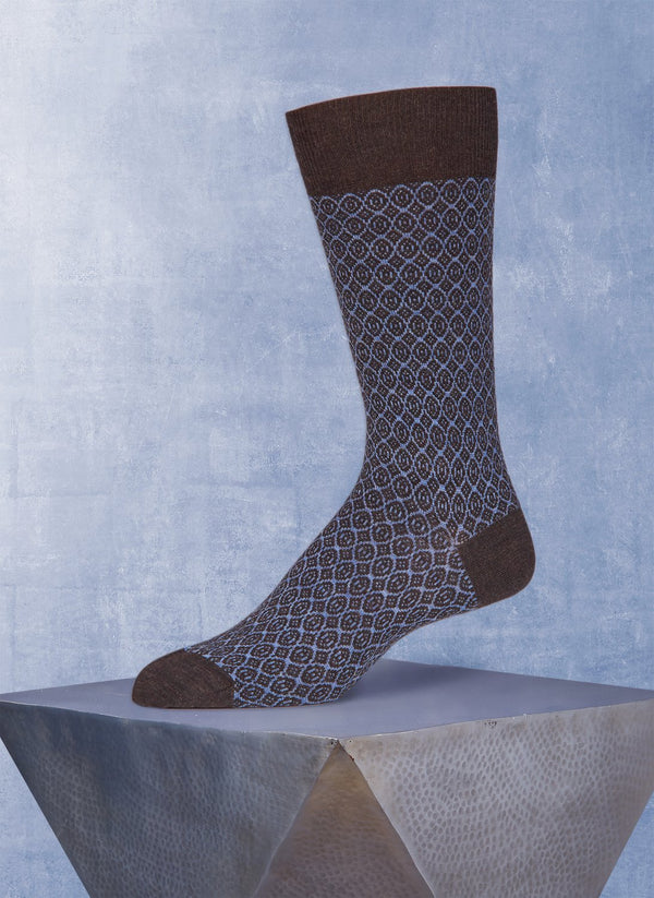 Stitched Diamond Sock in Brown