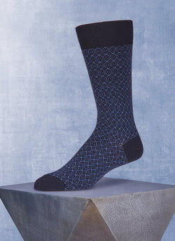 Stitched Diamond Sock in Navy