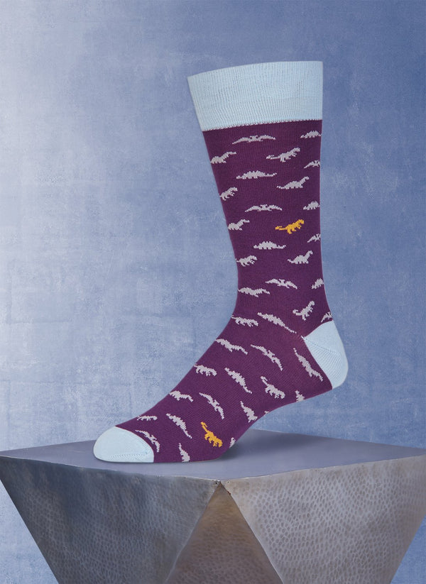 Dinosaurs in Purple Sock