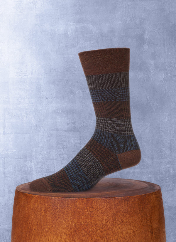 Plaid Wool Sock in Denim
