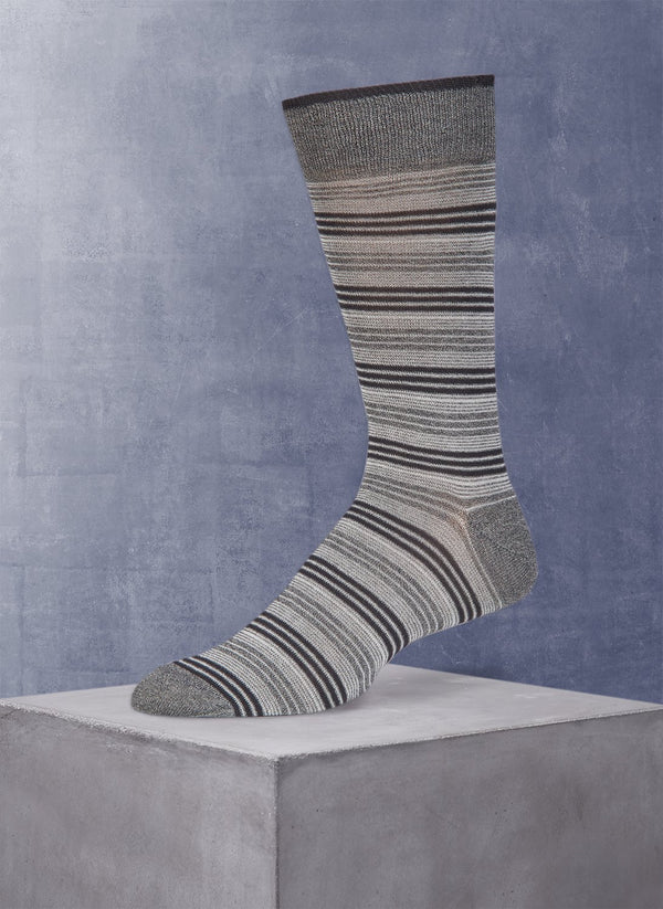 Wide Millerighe Stripe Sock in Grey