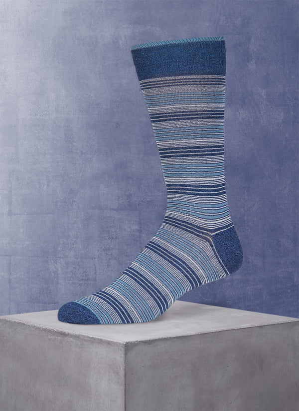 Wide Millerighe Stripe Sock in Navy
