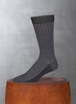 Thin Rib Cotton/Coolmax® in Black Sock