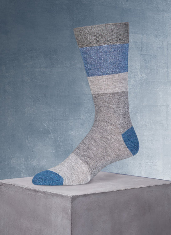 Block Stripe Cotton/Coolmax® in Medium Grey Sock