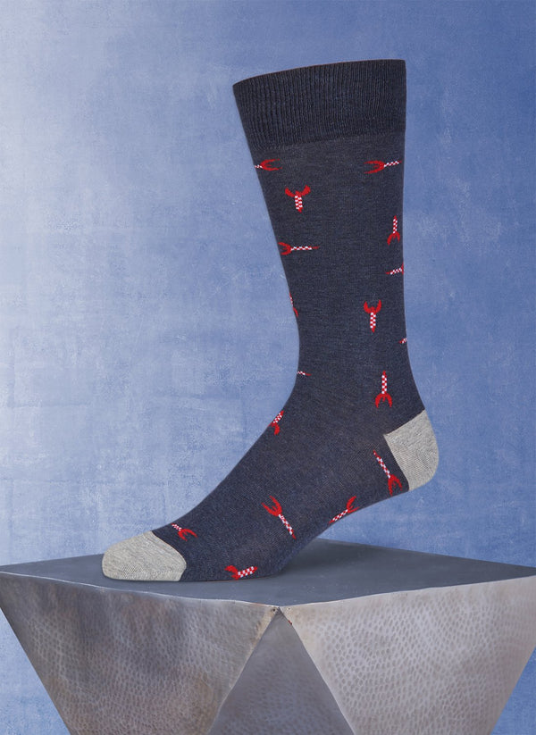 Spaceships Sock in Denim
