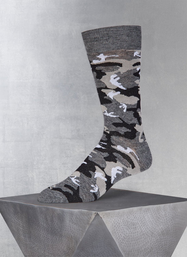 Lurex Camo Sock in Charcoal