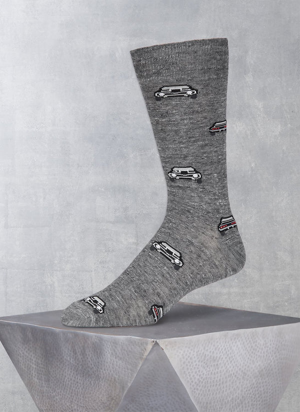 Lurex Car Sock in Charcoal