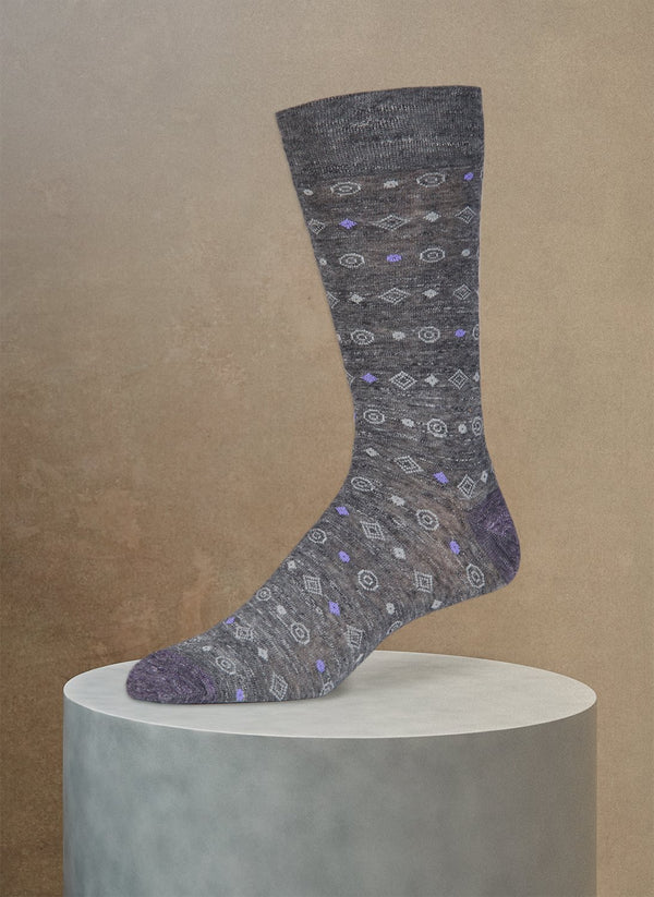 Pigmento Diamond Circle Sock in Charcoal