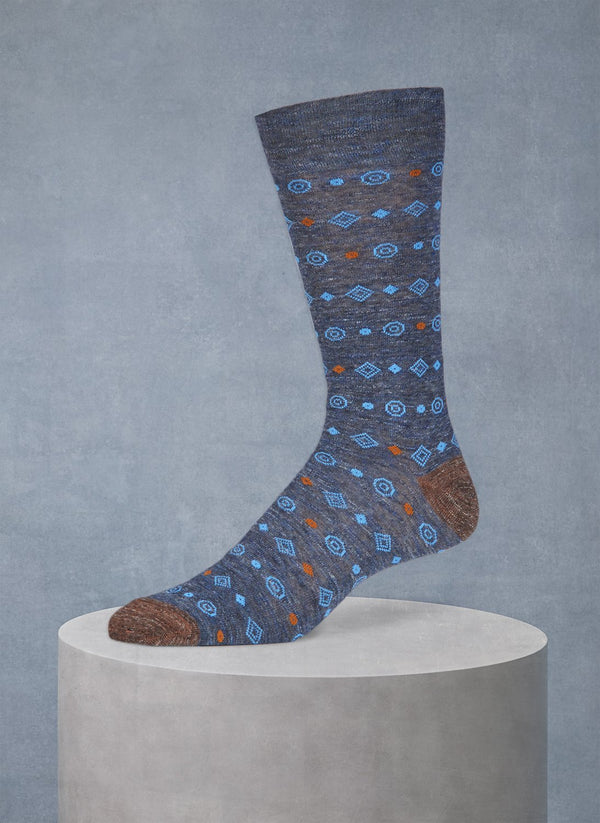 Pigmento Diamond Circle Sock in Navy