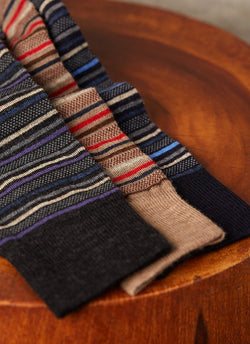 Oxford Stripe Sock in Taupe