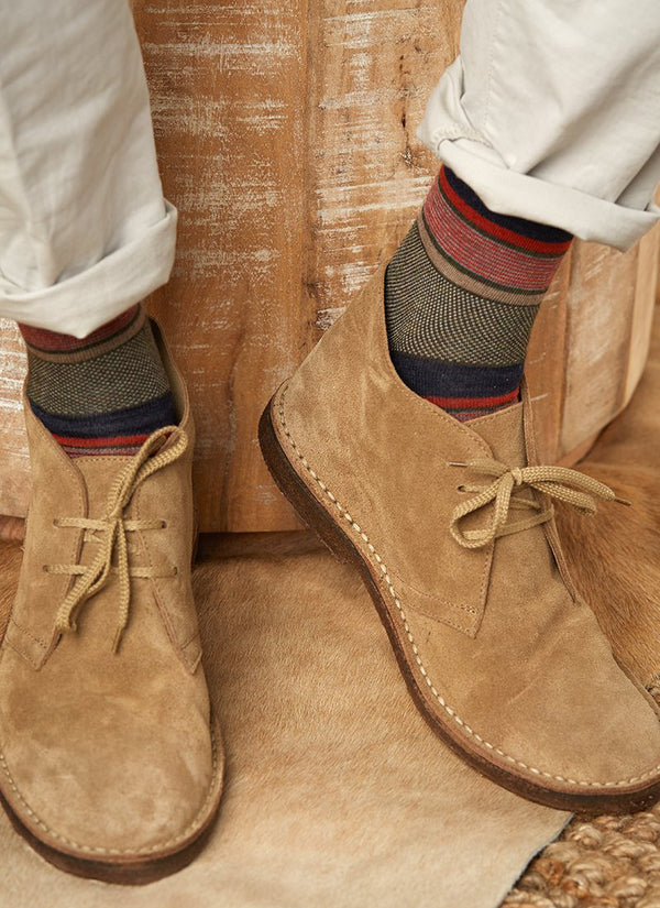 Merino Wool Oxford Mille Stripe Sock in Olive