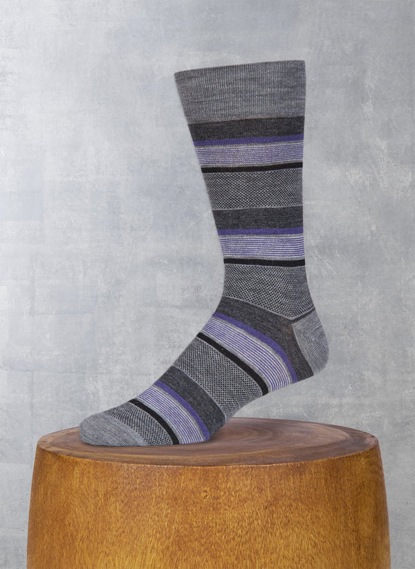 Merino Wool Oxford Mille Stripe Sock in Grey