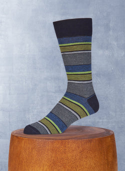 Merino Wool Oxford Mille Stripe Sock in Navy