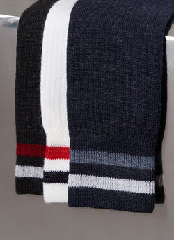 Merino Wool Collegiate Rib Sock in Heather Navy
