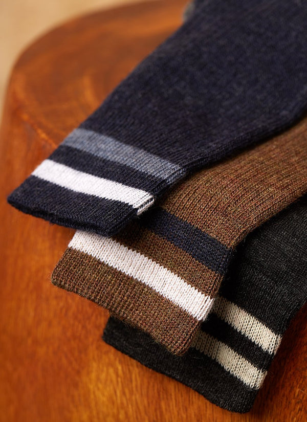 Merino Wool Collegiate Rib Sock in Heather Taupe