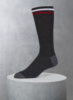 Merino Wool Collegiate Rib Sock in Heather Charcoal