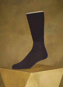 Merino 2X Rib Sock in Brown