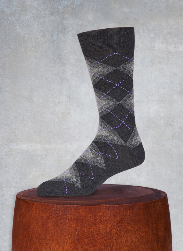 Jaspé Argyle Sock in Heather Black