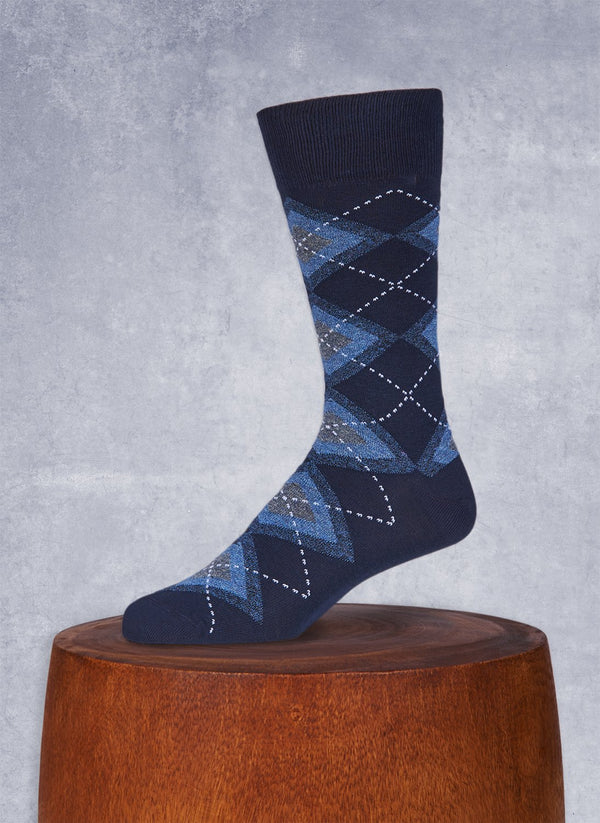 Jaspé Argyle Sock in Navy