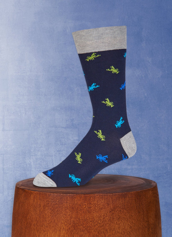 Lobsters Sock in Navy and Grey