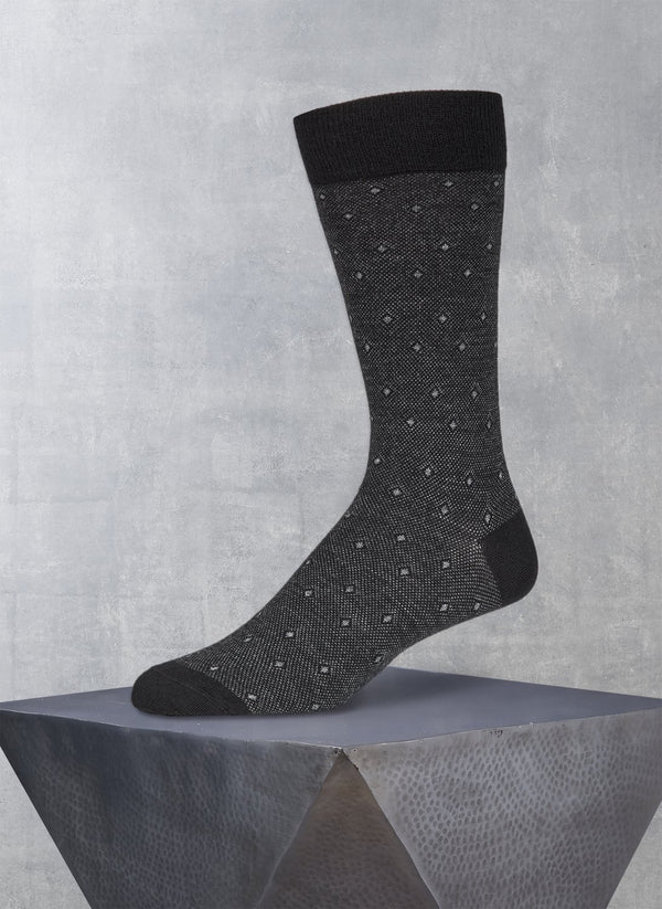 Merino Diamond Birdseye Sock in Black