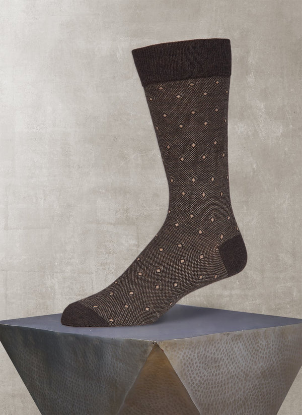 Merino Diamond Birdseye Sock in Brown