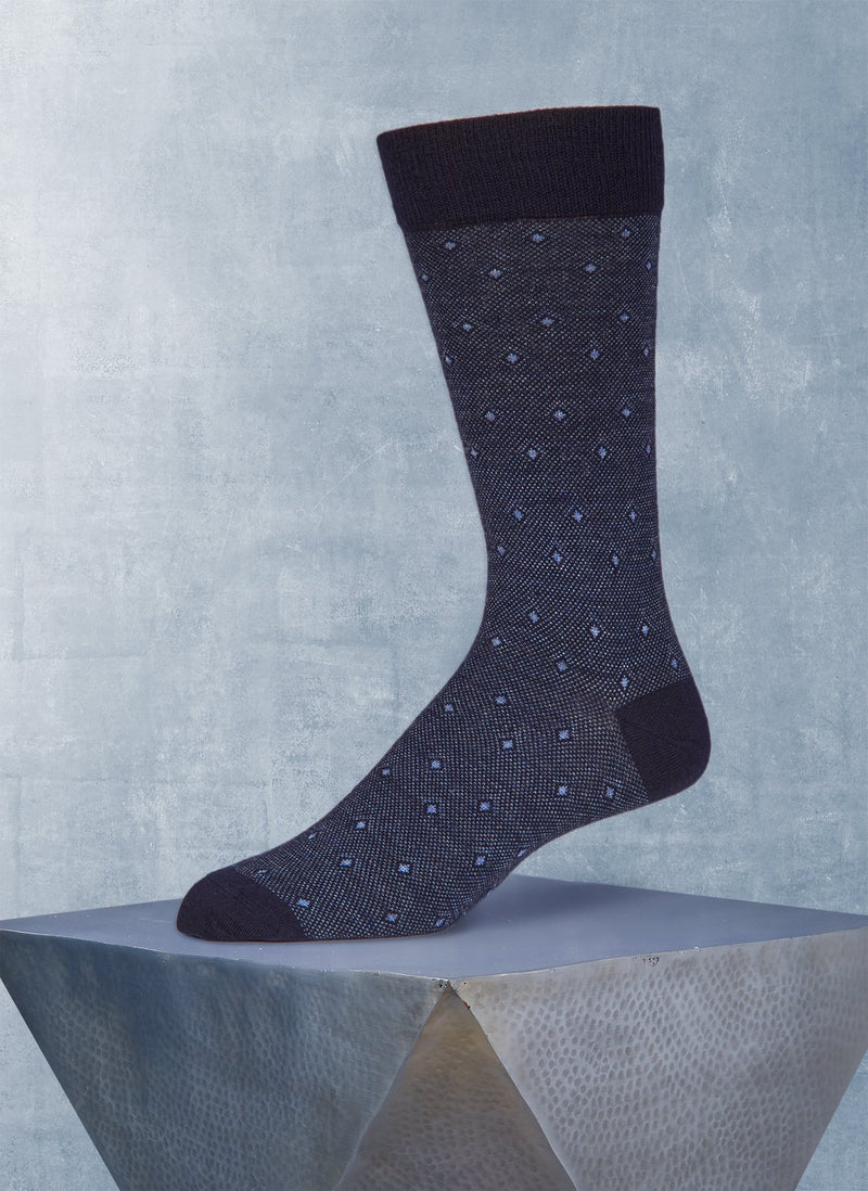 Merino Diamond Birdseye Sock in Navy