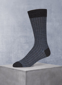 Merino Herringbone Sock in Heather Charcoal