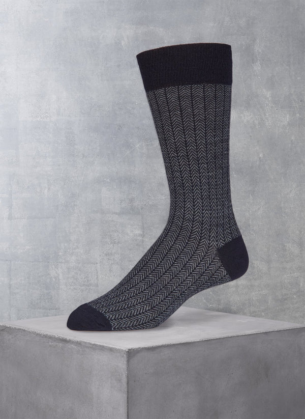 Merino Herringbone Sock in Navy