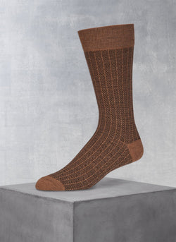 Merino Herringbone Sock in Taupe