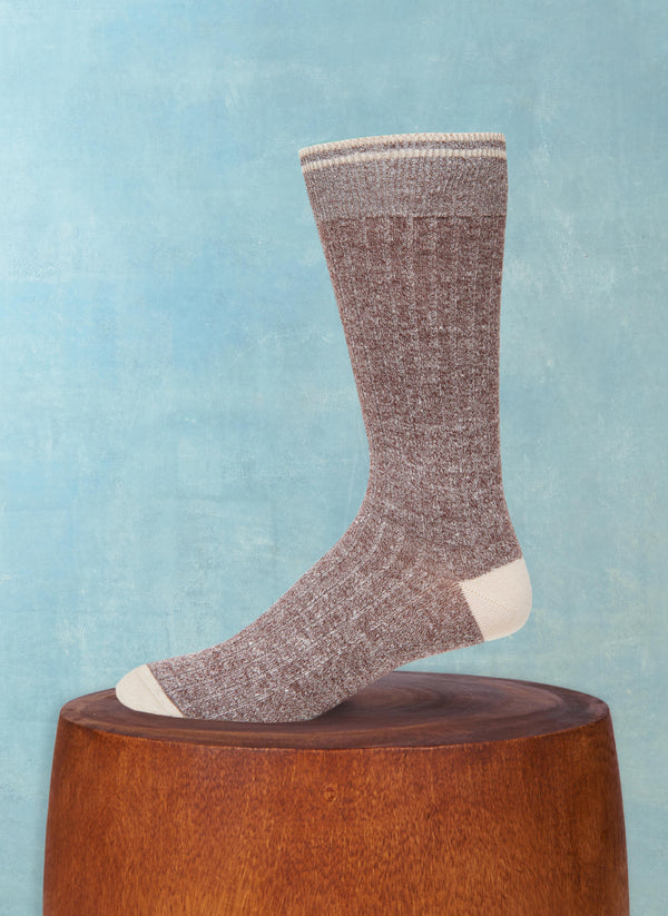 Afromood Solid Rib Sock in Brown