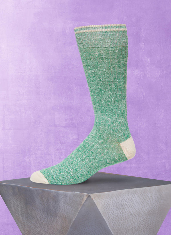 Afromood Solid Rib Sock in Green