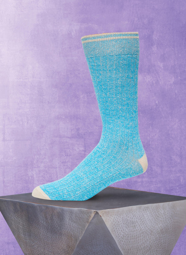 Afromood Solid Rib Sock in Aqua
