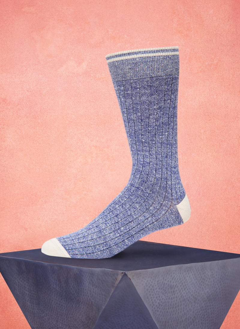 Afromood Solid Rib Sock in Denim