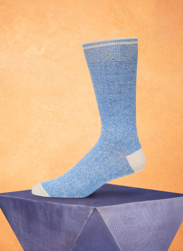Afromood Solid Rib Sock in Light Blue