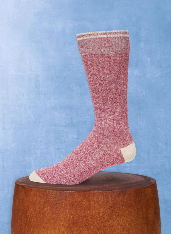 Afromood Solid Rib Sock in Red