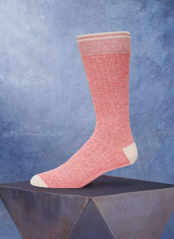 Afromood Solid Rib Sock in Coral